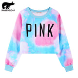 WAIBO BEAR New Fashion Women Crop Sweatshirts Kawaii Harajuku Style Loose Crop Hoodies Female Short Love Pink Sweatshirt - Hespirides Gifts - 1