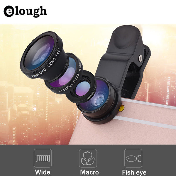ELOUGH Fish eye universal 3 in 1 fisheye wide angle macro camera lens for xiaomi iphone 5 5s 6 6s fish eye mobile phone lens - Hespirides Gifts