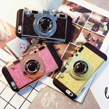Newest Korean Style Fashion Camera glitter Design Phone Case For iPhone6 6S 6Plus 6S Plus With Long Strap Rope - Hespirides Gifts - 1