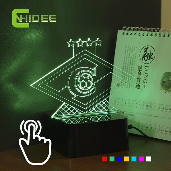 CNHIDEE Novelty USB Lampe 3D RGB Nightlight for Russia Spartak Football Club LED Touch Light as Home Lighting Futbol Lamp - Hespirides Gifts