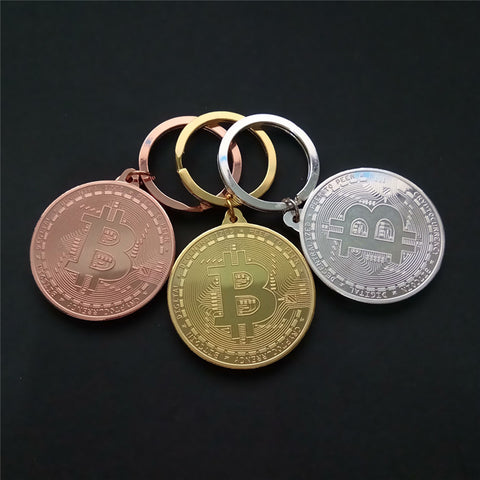 New Design Trendy Gold Silver Color Alloy Bitcoin keychain For Women Man lovely car Bag key ring Jewelry Gift
