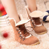 Scrub Patchwork Lace-Up Round Toe Snow Boots Women Short Plush Ankle Boots For Women Winter Warm Platform Short Booties - Hespirides Gifts - 2