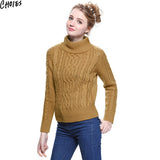 Women 5 Colors Brief Long Sleeve Turtleneck Cable Knitted Sweater Casual Pullover Autumn New Vintage Ribbed Slim Knitwear - Hespirides Gifts - 4