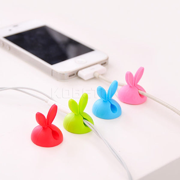 Cable Clip Desk Tidy Wire Drop Lead USB Charger Cord Holder Secure Table Cute Rabbit Shape Cable Organizer Winder for Earphone - Hespirides Gifts