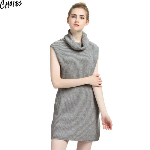 Women Gray High Neck Brief Sleeveless Sexy Slim Mini Elegant Knitted Sweater Dress Autumn New Plain Stretchable Clothing - Hespirides Gifts - 2