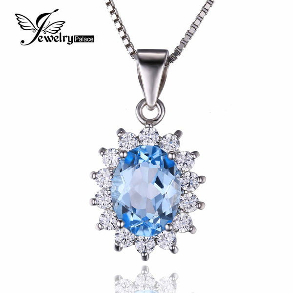 Princess Diana 2.9ct Natural Blue Topaz Pendants Pure Solid 925 Sterling Silver Charm Fashion Natural stone Pendant Fine Jewelry - Hespirides Gifts