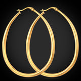 Women Earrings Classic Ellipse Hoop Earrings Wholesale 316L Stainless Steel Never Fade Fashion Jewelry For Women E680G - Hespirides Gifts - 2