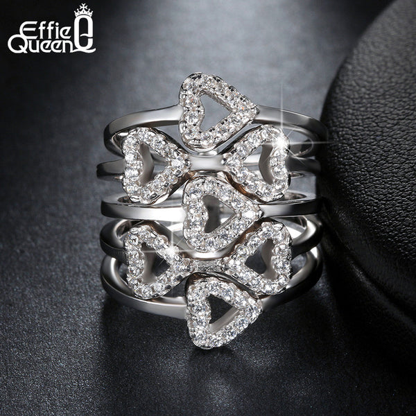 Luxury Crystal Zircon Rings Wedding Jewelry Hearts to Hearts Cluster Ring Women Silver Accessories DAR029 - Hespirides Gifts