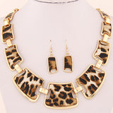 Fashion Women collar big Brand Geometric Leopard grain leather Vintage Necklaces & Pendant Earrings jewelry set Statement - Hespirides Gifts - 1