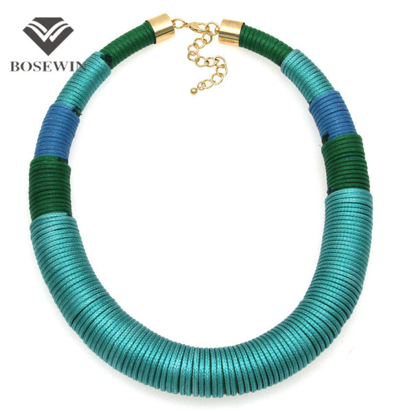 New Design Fashion Handmade Simple Yarn Necklace Chunky Chokers Wide Collar Statement Necklaces Big Jewelry CE4113 - Hespirides Gifts - 4