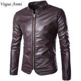 Leather Jackets Mens Black Leather Jacket Coats Outdoor Male Zipper Slim Mandarian Collar Casual Male Overcoat Size M-5XL - Hespirides Gifts - 1