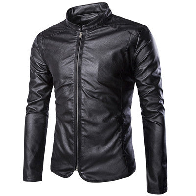 Leather Jackets Mens Black Leather Jacket Coats Outdoor Male Zipper Slim Mandarian Collar Casual Male Overcoat Size M-5XL - Hespirides Gifts - 3