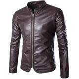 Leather Jackets Mens Black Leather Jacket Coats Outdoor Male Zipper Slim Mandarian Collar Casual Male Overcoat Size M-5XL - Hespirides Gifts - 2