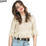 Women White Hollow Out Knit Fringed Trims Sexy Crop Sweater Spring Autumn Fashion Boho Tassel Pullover Knitwear Plus Size - Hespirides Gifts - 1