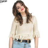 Women White Hollow Out Knit Fringed Trims Sexy Crop Sweater Spring Autumn Fashion Boho Tassel Pullover Knitwear Plus Size - Hespirides Gifts - 2