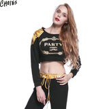 Women Black Metallic Letter Print Long Sleeve Sexy Cropped Sweatshirt Short Hoodies New Fashion O Neck Soft Cotton Pullover - Hespirides Gifts - 1