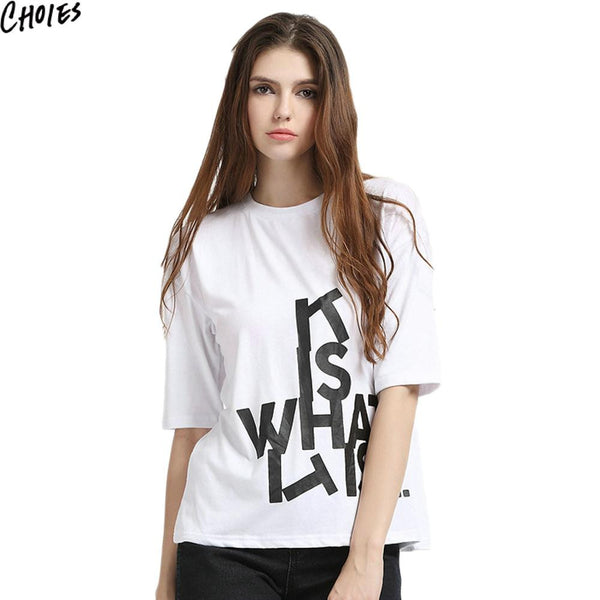 Women White Letter Patched O Neck Half Sleeve Loose Casual Cotton T-shirt Fashion New Summer Brief Cute Plus Size Clothing - Hespirides Gifts - 2
