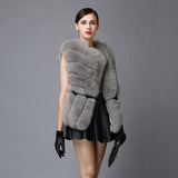 Fur Story 16248 Hot Sale Winter Women's Real Fox Fur Vest Furry Natural Fur Waistcoat Asymmetric placket Female Color Optional