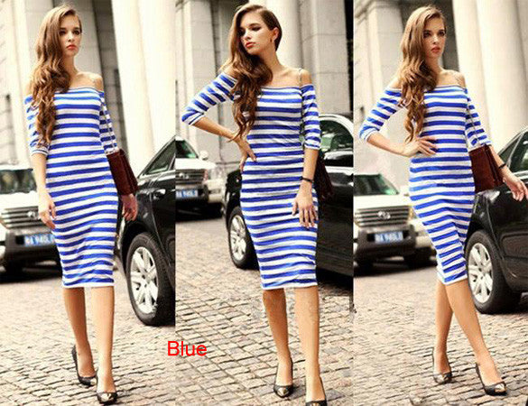 Women Autumn Dress Sexy Half Sleeve Off Shoulder Stripe Stretch Casual Party Bodycon Dresses Cotton Blend S-XL Vestido - Hespirides Gifts - 2