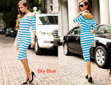 Women Autumn Dress Sexy Half Sleeve Off Shoulder Stripe Stretch Casual Party Bodycon Dresses Cotton Blend S-XL Vestido - Hespirides Gifts - 3