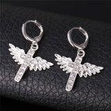 Uloveido 18k Gold Platinum Plated Cross Wing Crystal CZ Diamond Christian Hoop Earrings Alloy Circle Earring for Women Y199
