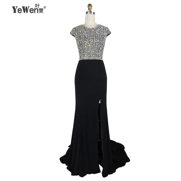 YeWen Long Formal Dress Elegant Sexy Black Red Side Slit Beaded Evening Dress Gown Women Dress Party Long Dresses - Hespirides Gifts - 5