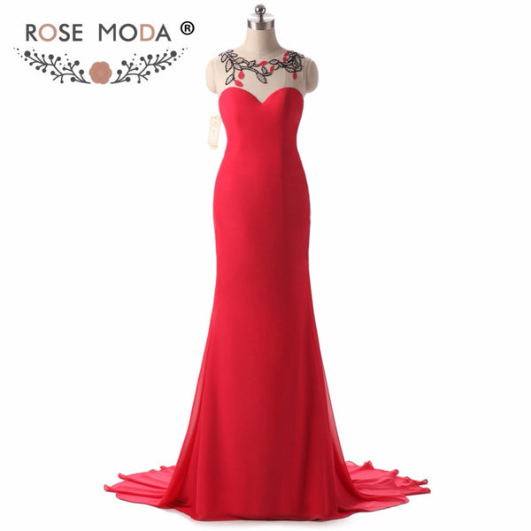 Real Photos Sleeveless Red Mermaid Evening Dress with Illusion Back Handmade Flowers Formal Party Dress Custom Made