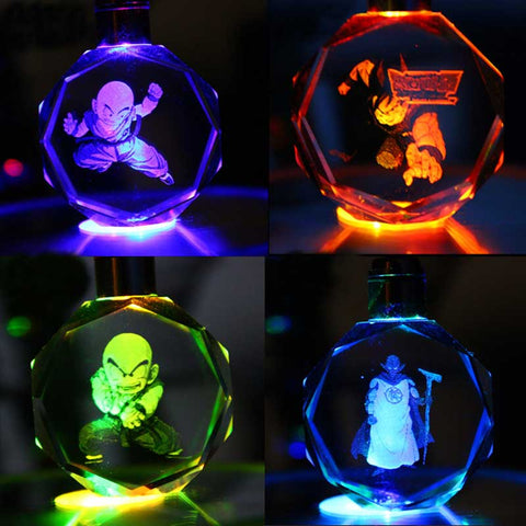 Zoeber Colorful LED Light Cartoon Keyring Key Chain 16 Styles Dragon Ball Crystal Keychain Super Saiyan Child Fashion Gifts