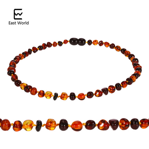 EAST WORLD Baltic Amber Teething Necklace for Babies (Unisex) Cherry with Cognac 100% USA Lab-Tested Authentic Amber Bracelet