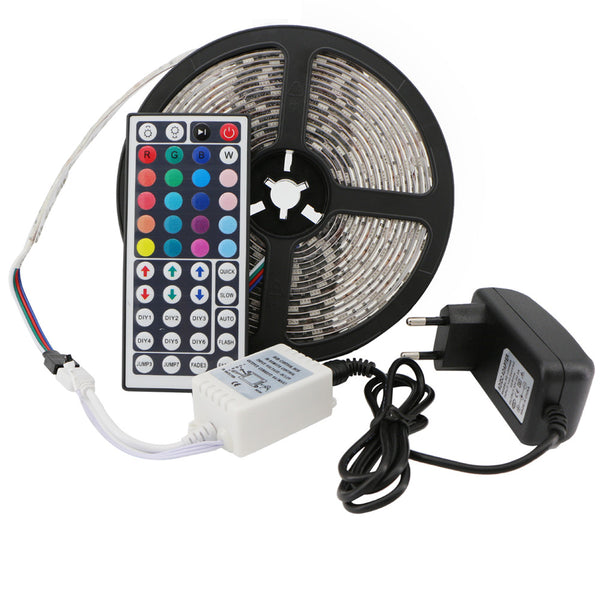 SMD 5050 RGB LED Strip Light Waterproof LED Tape Kit 300LEDs 5M Garden Lighting+IR Remote Controller+DC 12V Adapter Power Supply - Hespirides Gifts