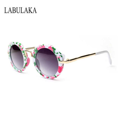 LABULAKA Vintage Kids Glasses Round Children Alloy Sun Glasses Baby Boys Girls Sunglass Oculos De Sol Lunette De Soleil Goggles