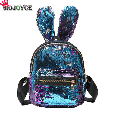 Bling Sequins Backpack Cute Big Rabbit Ears Double Shoulder Bag Women Mini Backpack Children Girls Rucksack Travel Bag mochila