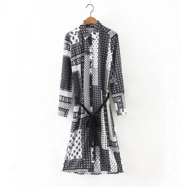 Europe Bohemian style women summer shirtdress vintage sashes knee length long sleeve casual print dresses straight vestidos - Hespirides Gifts - 3