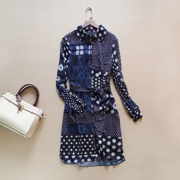 New spring summer brand fashion women casual shirtdress geometric dots print long-sleeve sashes elegant shift dress dresses - Hespirides Gifts - 2