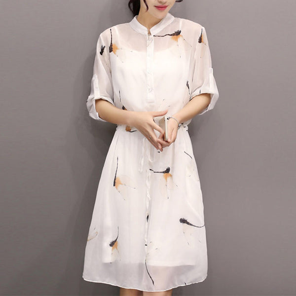 Spring Women Fashion Dresses New Korea Casual Slim 3/4Sleeve Shirtdress Women Stand Collar Chiffon Long Dresses Female 8061 - Hespirides Gifts - 2