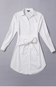 Fashion Lapel Long Sleeve Woman Spring New White Shirt Dress Vintage Slim Waist Bow A-line Shirtdress Large Size QT138 - Hespirides Gifts - 2