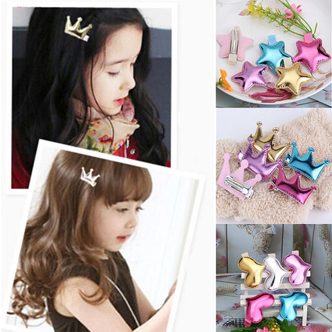 M MISM High Quality Baby Hair Accessories PU Heart/Star/ Crown Hair clip Hairpins Kids Barrette Lovely Shiny Leather Headwear
