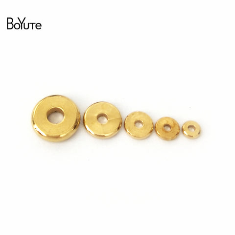 BoYuTe 100Pcs 3MM 4MM 5MM 6MM 7MM 8MM 10MM 12MM Round Metal Brass Diy Loose Spacer Beads for Jewelry Making