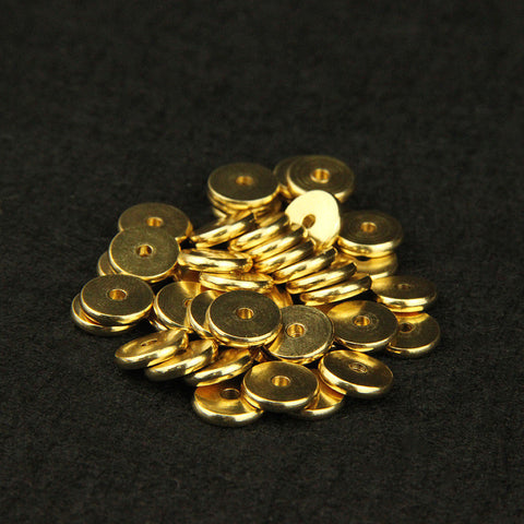 Aclovex 50pcs 4/5/6/7/8/10mm Metal Brass Round Flat Spacer Beads Fit Bracelet Finding Gold Color Spacer Beads DIY Jewelry Making