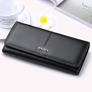 SENDEFN Fashion Genuine Leather Wallet Women Long Slim Lady Casual Day Clutch Card Holder Phone Pocket Wallet Female Purse - Hespirides Gifts - 2