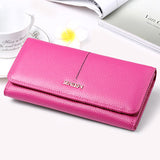 SENDEFN Fashion Genuine Leather Wallet Women Long Slim Lady Casual Day Clutch Card Holder Phone Pocket Wallet Female Purse - Hespirides Gifts - 4