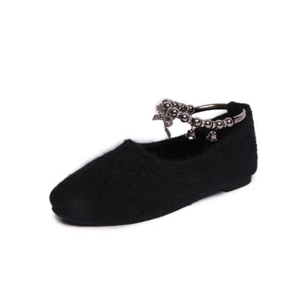 Fashion Women Creepers Fur Women Flats Platform Mary Jane Ankle Strap Casual Ladies Loafers Shoes Black Gray Red FB&008 - Hespirides Gifts - 3