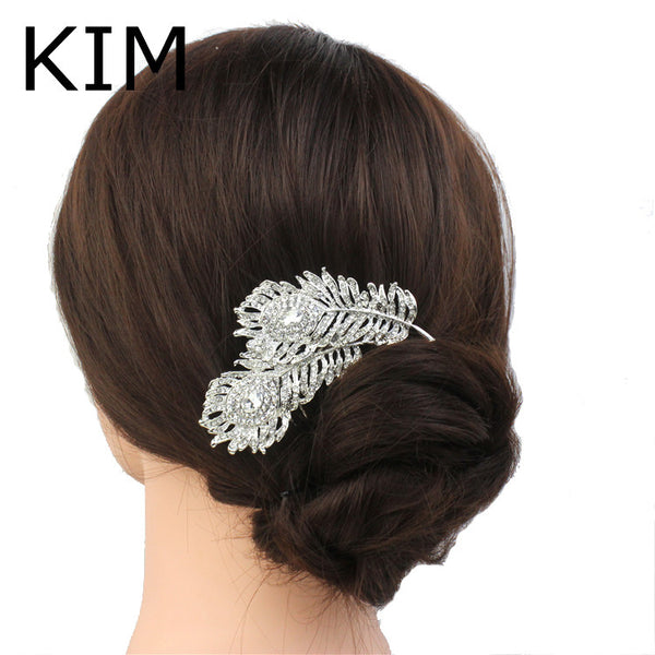 Buy Women Wedding Dual Peacock Feather Hair Comb Tiara