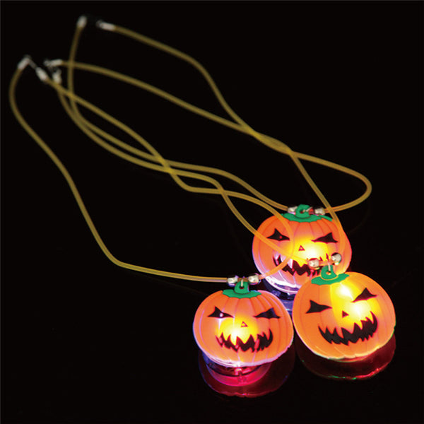 Luminous Costume Party Props LED Lights Halloween Pumpkin Necklace All Saints' Day necklace pendant accessory dress up supply - Hespirides Gifts