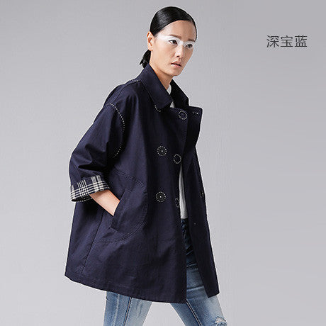 Toyouth Windbreaker Women Autumn Women Fashion Double-breasted Turn Down Collar Cotton Outerwear Coat - Hespirides Gifts - 4