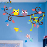 wise owls on colorful tree wall stickers for kids rooms animal decorative adesivo de parede removable pvc wall decal zooyoo1016 - Hespirides Gifts - 1