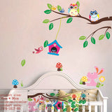 wise owls on colorful tree wall stickers for kids rooms animal decorative adesivo de parede removable pvc wall decal zooyoo1016 - Hespirides Gifts - 3