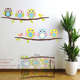 wise owls on colorful tree wall stickers for kids rooms animal decorative adesivo de parede removable pvc wall decal zooyoo1016 - Hespirides Gifts - 6