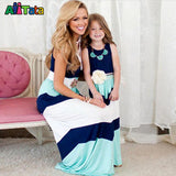Summer Style Family Matching Outfits mother daughter dresses Contrast Color blue A-Line Dress Ankle-Length mother & kids - Hespirides Gifts - 7