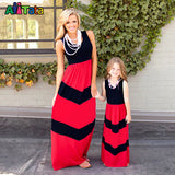 Summer Style Family Matching Outfits mother daughter dresses Contrast Color blue A-Line Dress Ankle-Length mother & kids - Hespirides Gifts - 4